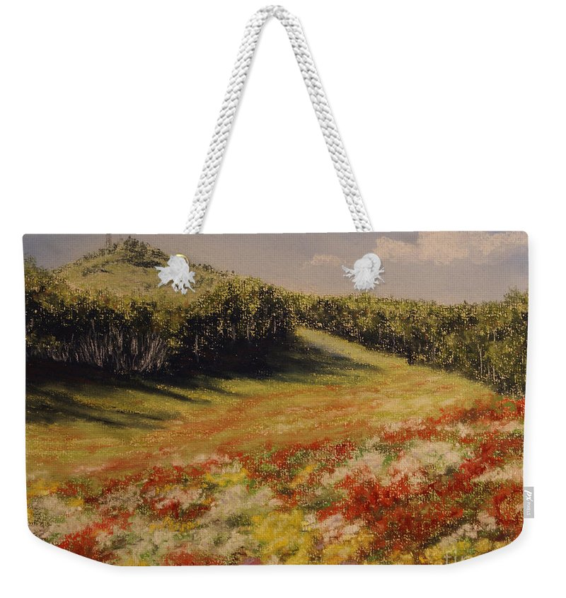 Summer Landscape Weekender Tote Bag featuring the pastel Melkow Trail by Stanza Widen