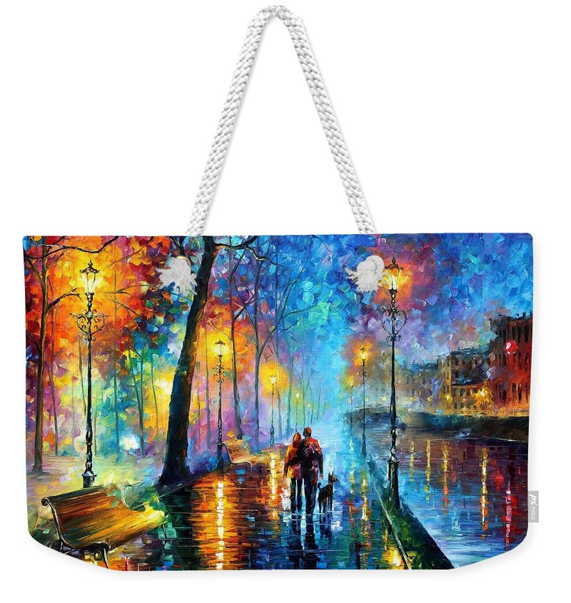 Leonid Afremov Weekender Tote Bag featuring the painting Melody Of The Night - Palette Knife Landscape Oil Painting On Canvas By Leonid Afremov by Leonid Afremov