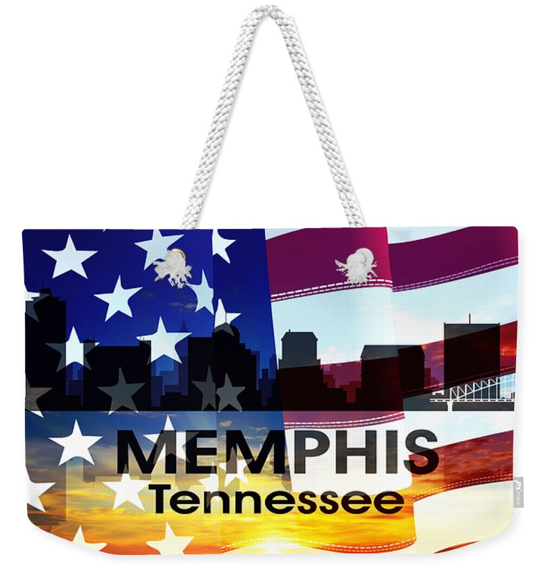 Memphis Weekender Tote Bag featuring the mixed media Memphis Tn Patriotic Large Cityscape by Angelina Vick