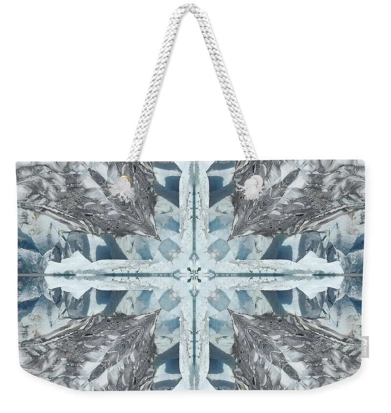 Alaska Weekender Tote Bag featuring the photograph Mendenhall Glacier Cross by Coventry Wildeheart