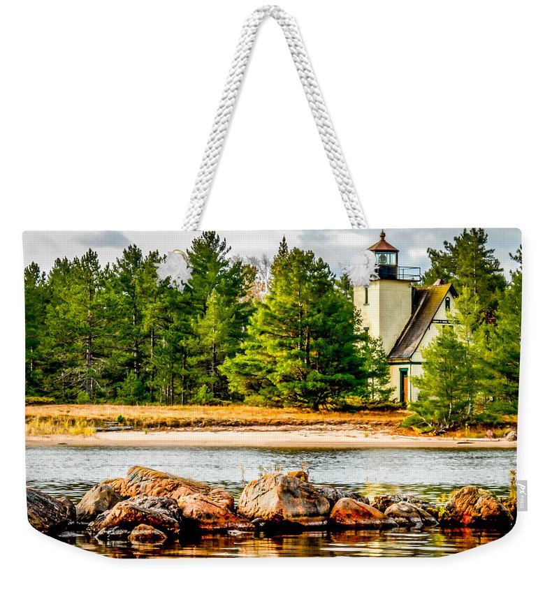 Optical Playground By Mp Ray Weekender Tote Bag featuring the photograph Mendota Bete Grise Lighthouse by Optical Playground By MP Ray
