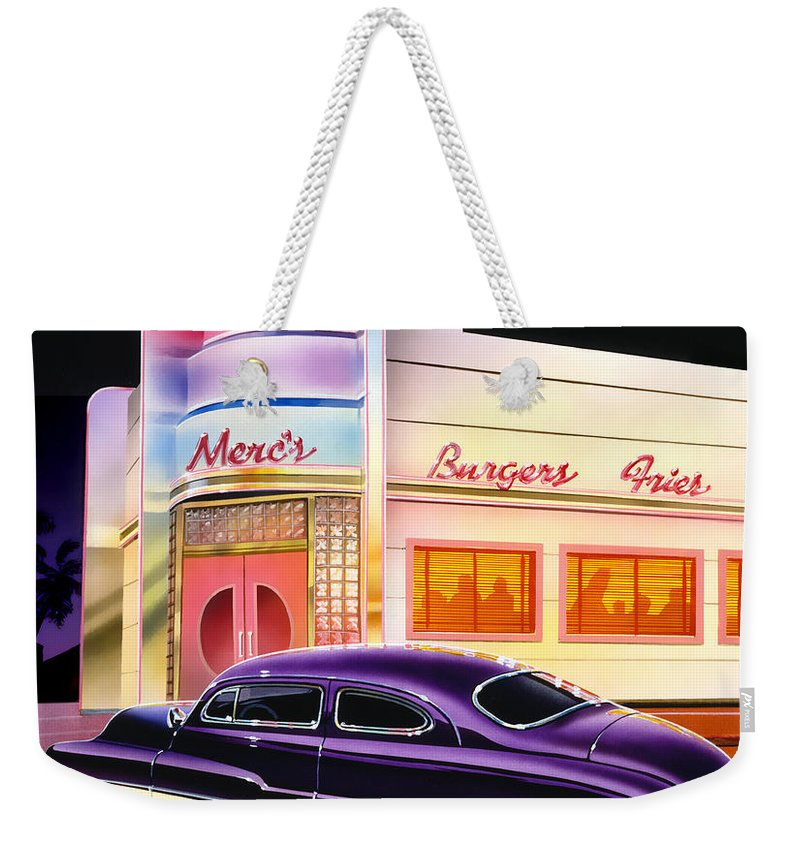 Car Weekender Tote Bag featuring the photograph Mercs Burgers by Bruce Kaiser