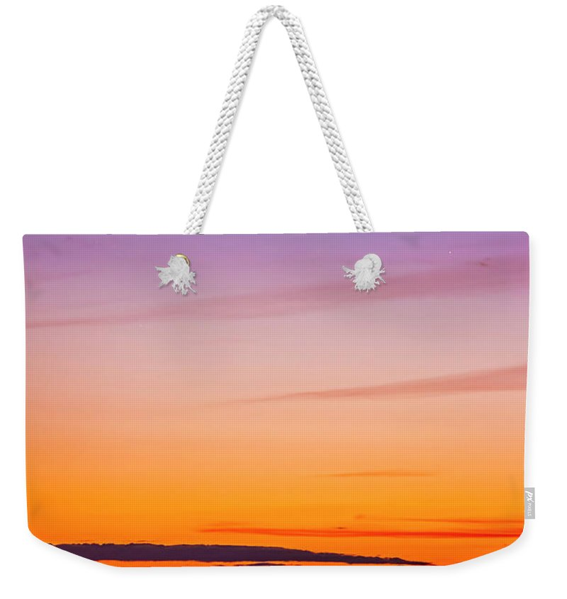 2015 Weekender Tote Bag featuring the photograph Mercury & Venus Conjunction Closeup by Alan Dyer