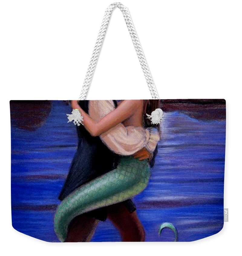 Mermaid Weekender Tote Bag featuring the painting Mermaid And Pirate's Caribbean Love by Sue Halstenberg