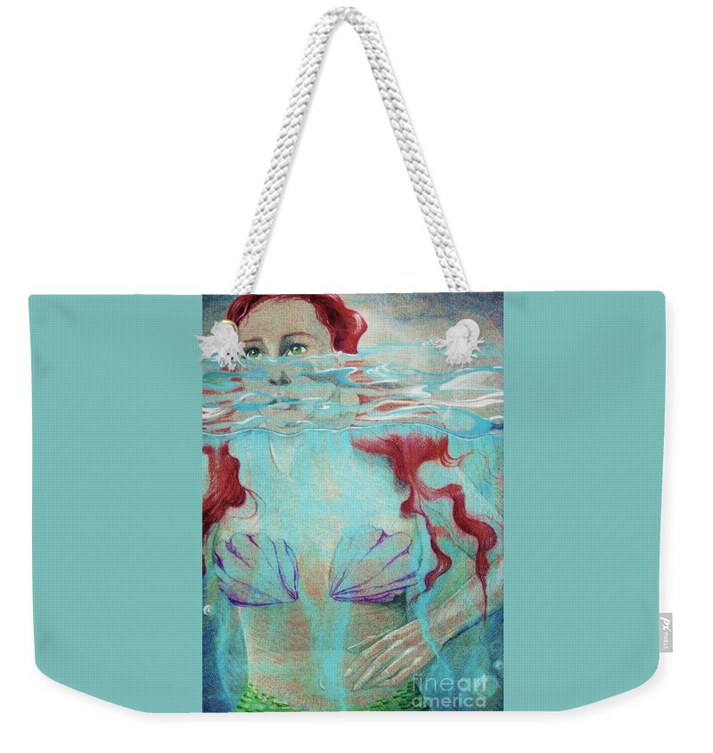 Pastel By My Second Daughter Weekender Tote Bag featuring the digital art Mermaid by Annie Gibbons
