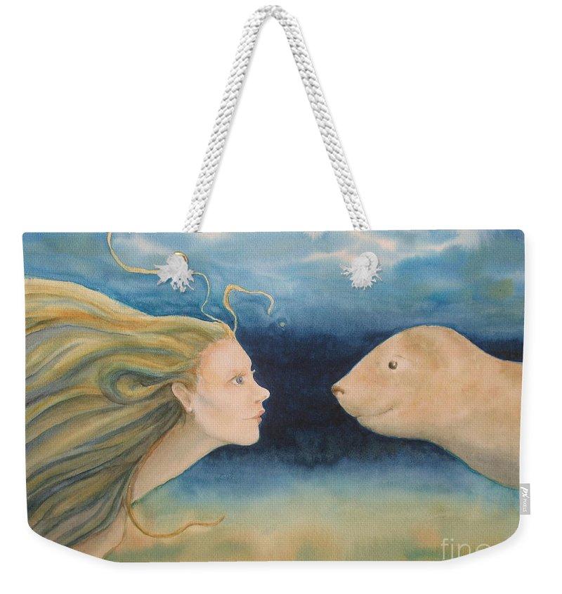 Mermaid Weekender Tote Bag featuring the painting Mermaid Encounter by Kym Stine