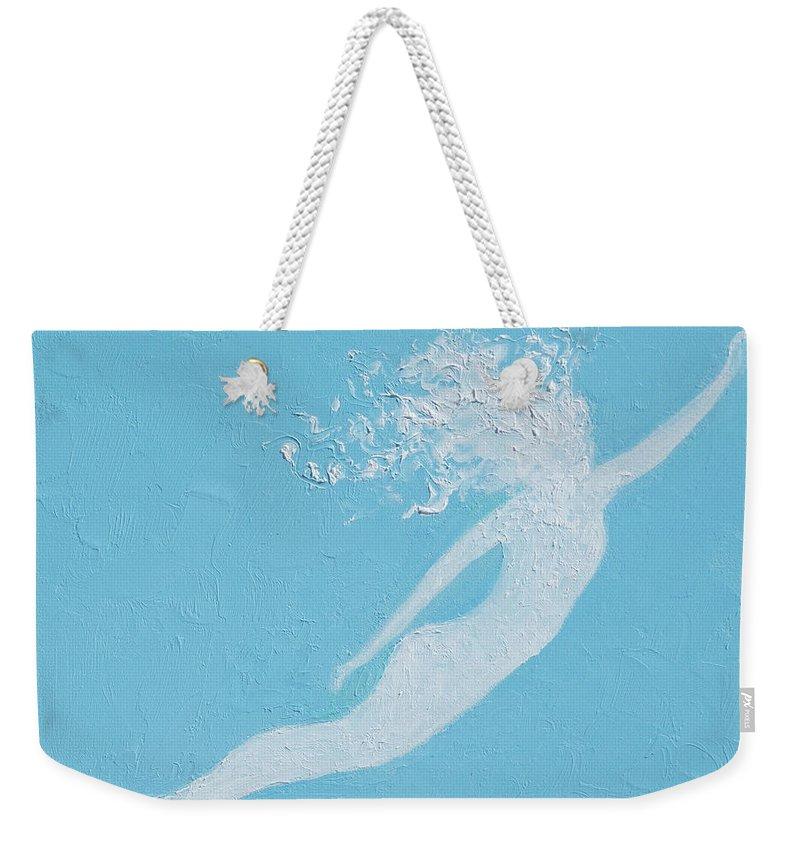 Mermaid Weekender Tote Bag featuring the painting Mermaid by Jan Matson