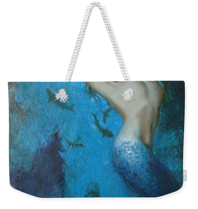 Ignatenko Weekender Tote Bag featuring the painting Mermaid by Sergey Ignatenko