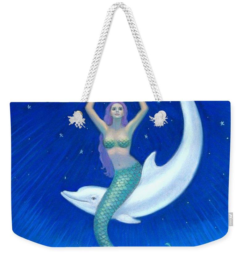 Mermaid Art Weekender Tote Bag featuring the painting Mermaids- Dolphin Moon Mermaid by Sue Halstenberg
