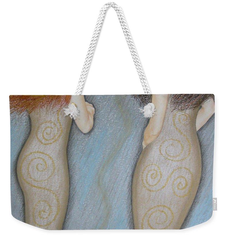 Mermaid Weekender Tote Bag featuring the painting Mermaids by Lynet McDonald