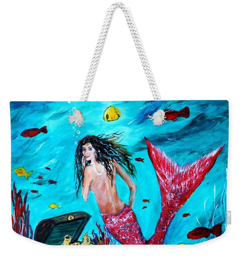Mermaid Weekender Tote Bag featuring the painting Mermaids Treasure by Leslie Allen