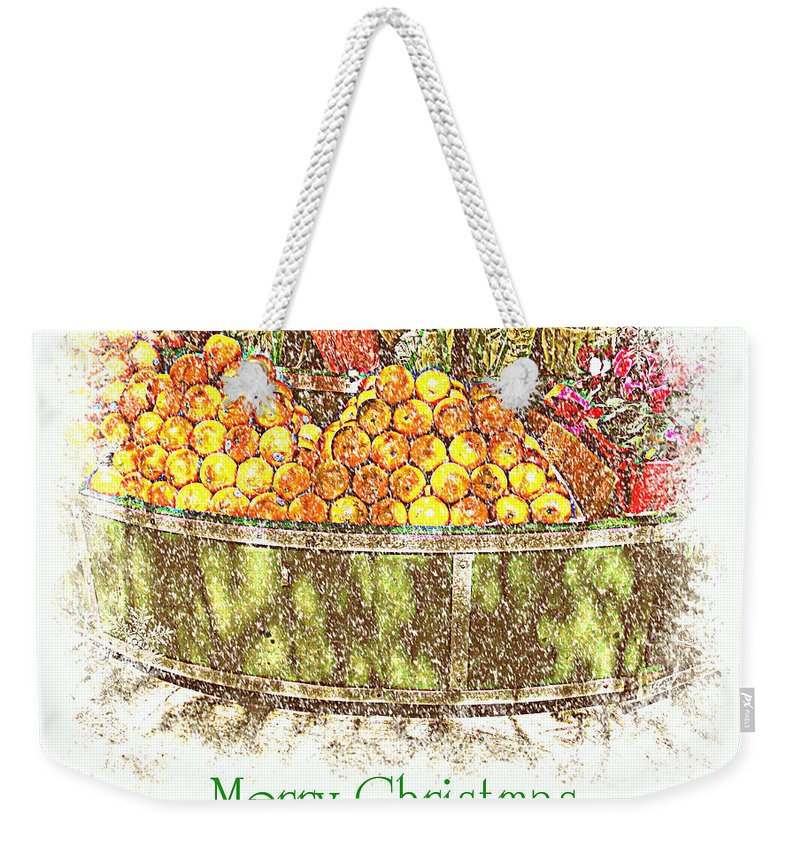 Fruitstand Weekender Tote Bag featuring the photograph Merry Christmas And A Happy New Year - Fruit And Flowers In The Snow - Holiday And Christmas Card by Miriam Danar