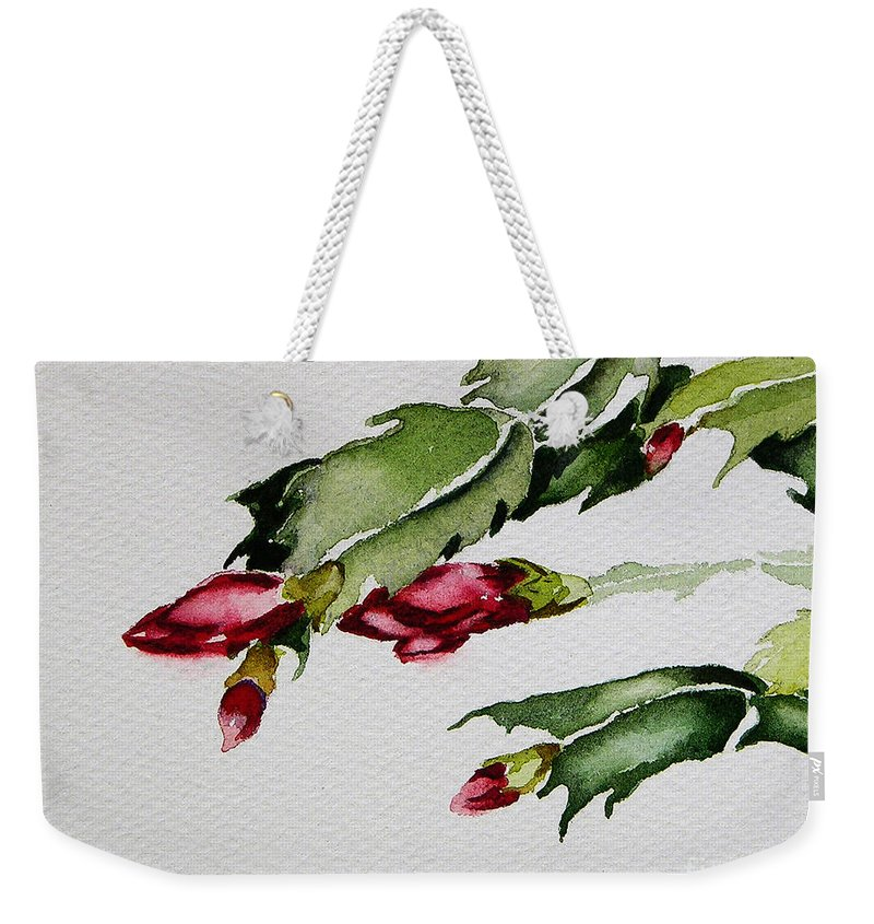 Art Weekender Tote Bag featuring the painting Merry Christmas Cactus 2013 by Julianne Felton