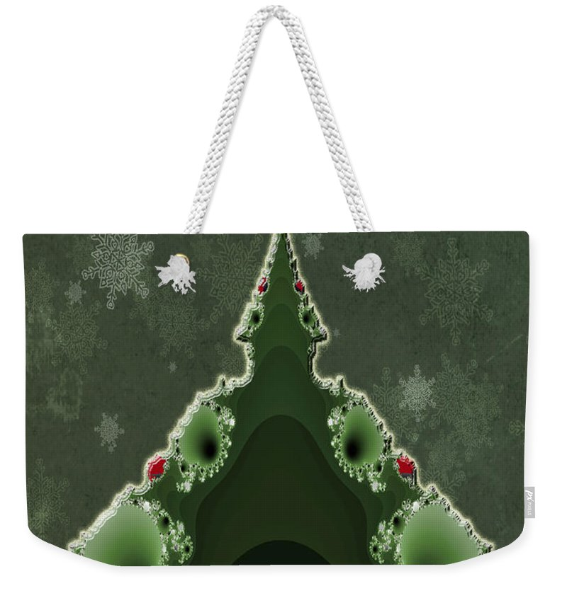 Christmas Weekender Tote Bag featuring the photograph Merry Christmas Greeting - Tree And Star Fractal by Mother Nature