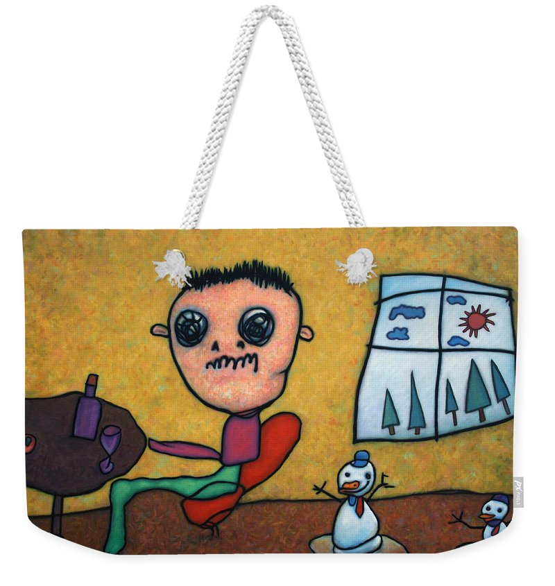Christmas Weekender Tote Bag featuring the painting Merry Christmas by James W Johnson