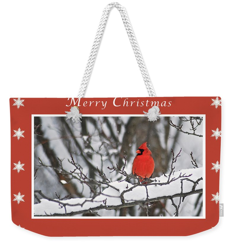Merry Christmas Weekender Tote Bag featuring the photograph Merry Christmas Male Cardinal by Michael Peychich