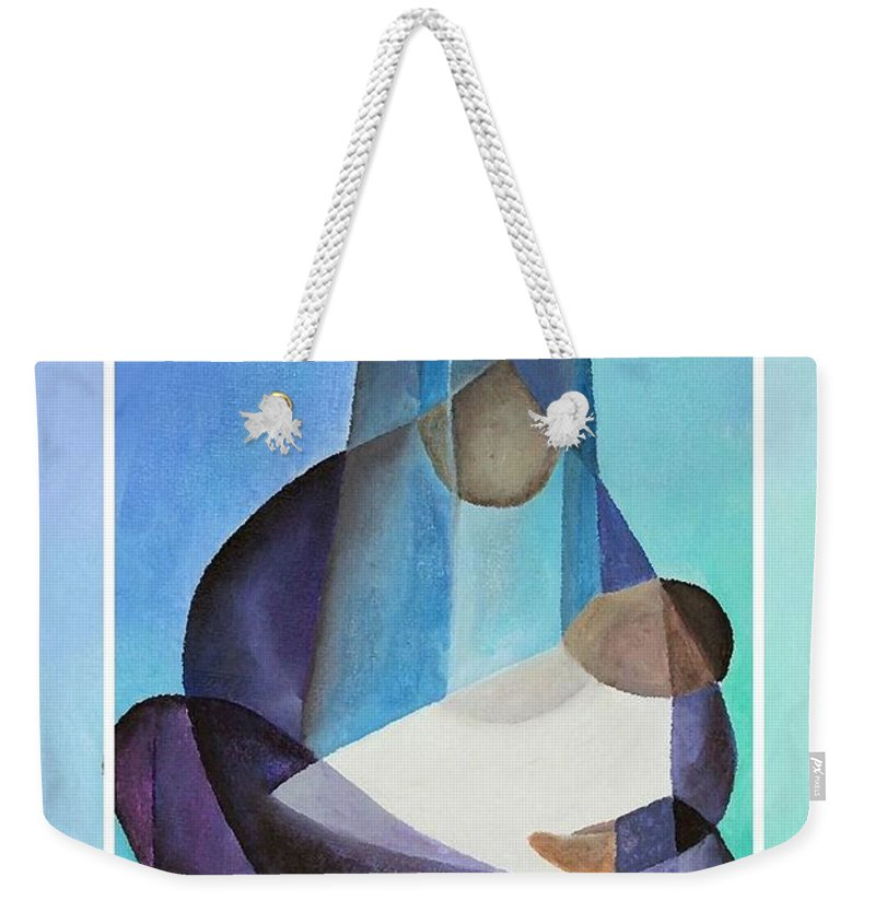Christmas Weekender Tote Bag featuring the painting Merry Christmas Virgin Mary And Child by Taiche Acrylic Art