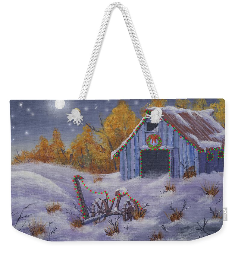 Barn Weekender Tote Bag featuring the painting Merry Christmas You Old Barn And Farm Implement by Jerry McElroy