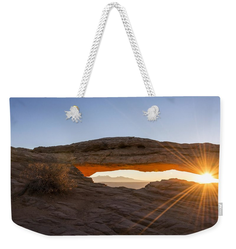Mesa Arch Sunrise Canyonlands National Park Moab Utah Weekender Tote Bag featuring the photograph Mesa Arch Sunrise 7 - Canyonlands National Park - Moab Utah by Brian Harig