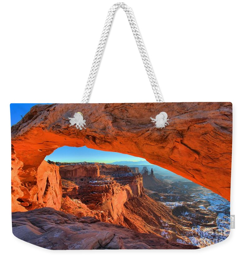 Mesa Arch Sunrise Weekender Tote Bag featuring the photograph Mesa Sunrise Glow by Adam Jewell