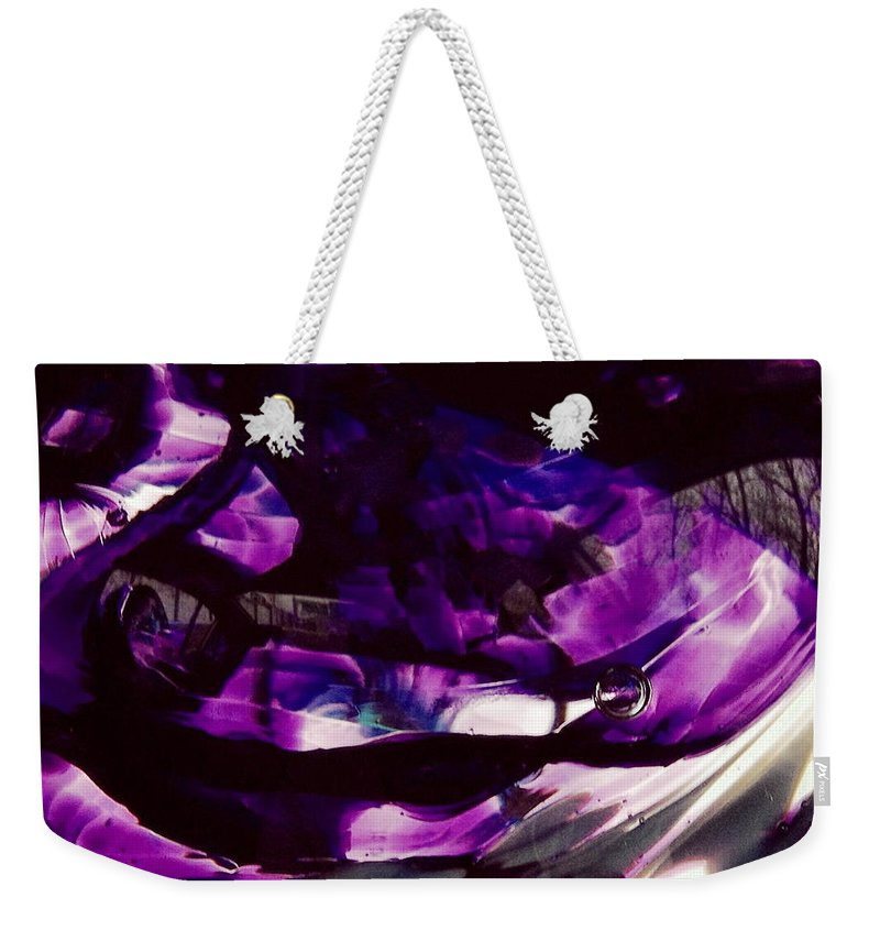 Glass Weekender Tote Bag featuring the photograph Mesmerize Purple by Angela Rath