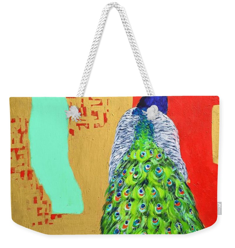 Peacock Weekender Tote Bag featuring the painting Messages by Ana Maria Edulescu