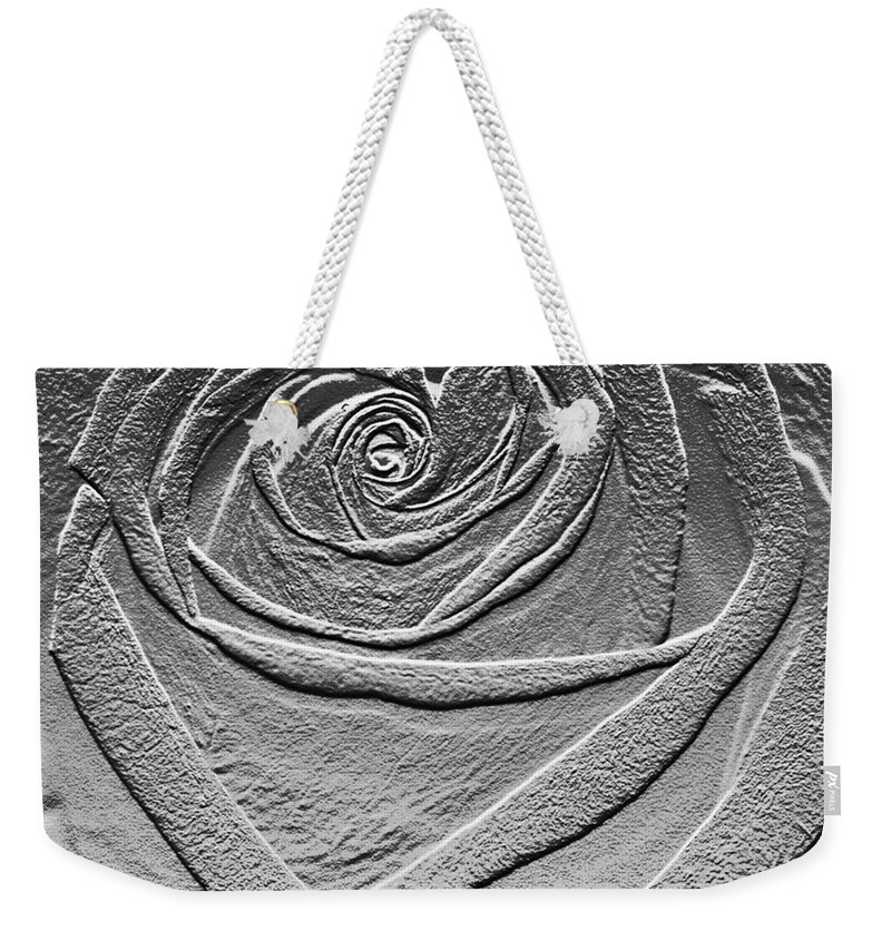 Rose Weekender Tote Bag featuring the digital art Metal Rose by Carol Lynch