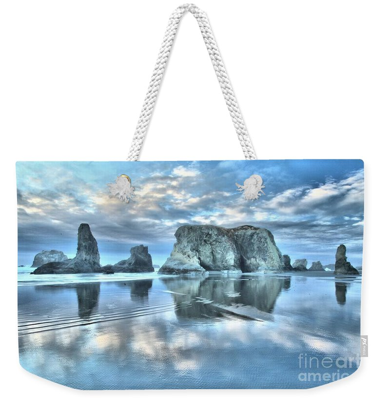 Bandon Beach Weekender Tote Bag featuring the photograph Metallic Cloud Reflections by Adam Jewell