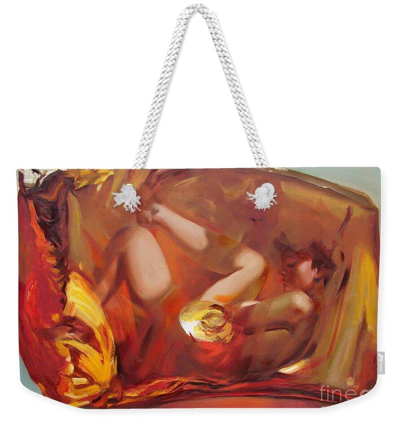 Ignatenko Weekender Tote Bag featuring the painting Metamorphoses by Sergey Ignatenko