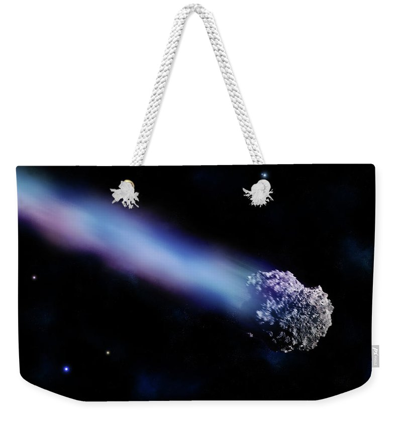 Comet Weekender Tote Bag featuring the digital art Meteor With Colorful Tail by Maciej Frolow