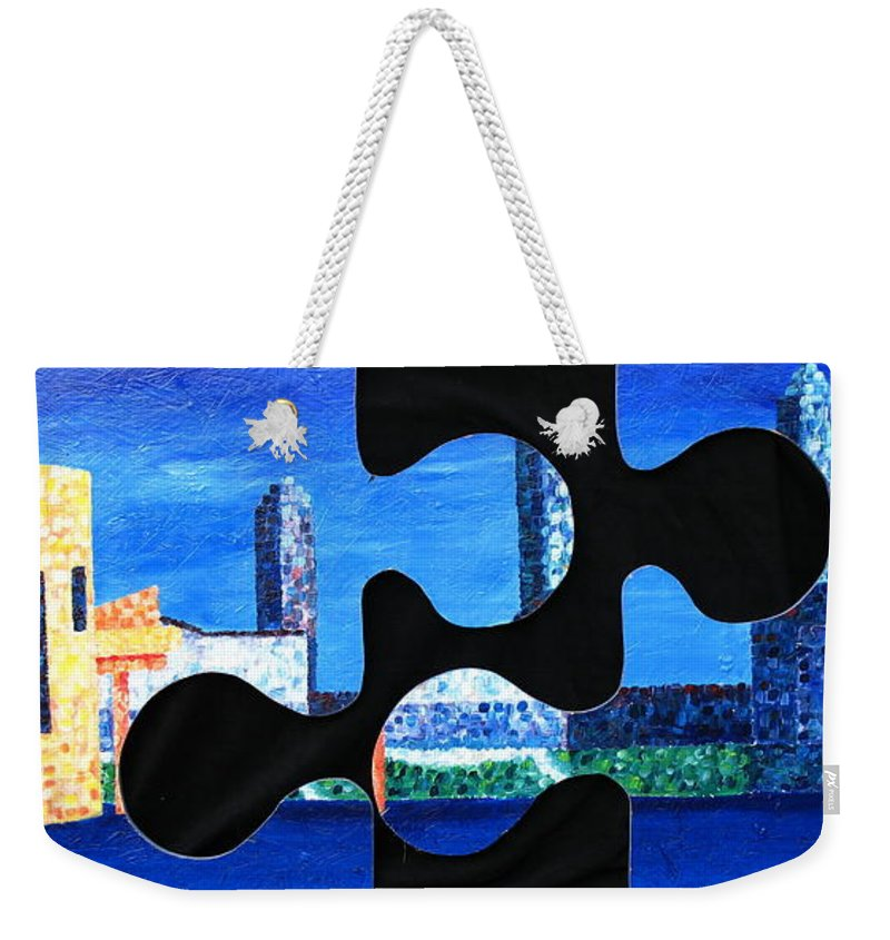 Cleveland Weekender Tote Bag featuring the painting A Piece Of Cleveland by JoAnn DePolo