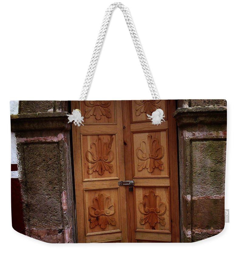 North America Weekender Tote Bag featuring the photograph Mexican Door 56 by Xueling Zou