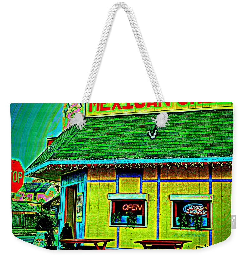 Restaurant Weekender Tote Bag featuring the photograph Mexican Grill by Chris Berry