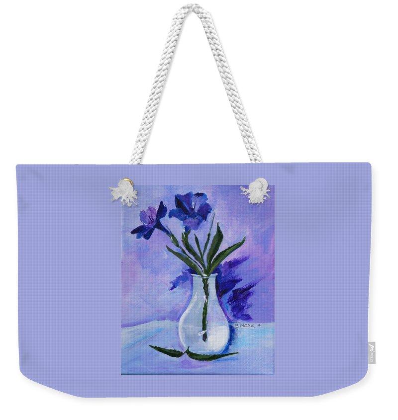 Barbara Moak Weekender Tote Bag featuring the painting Mexican Petunias by Barbara Moak