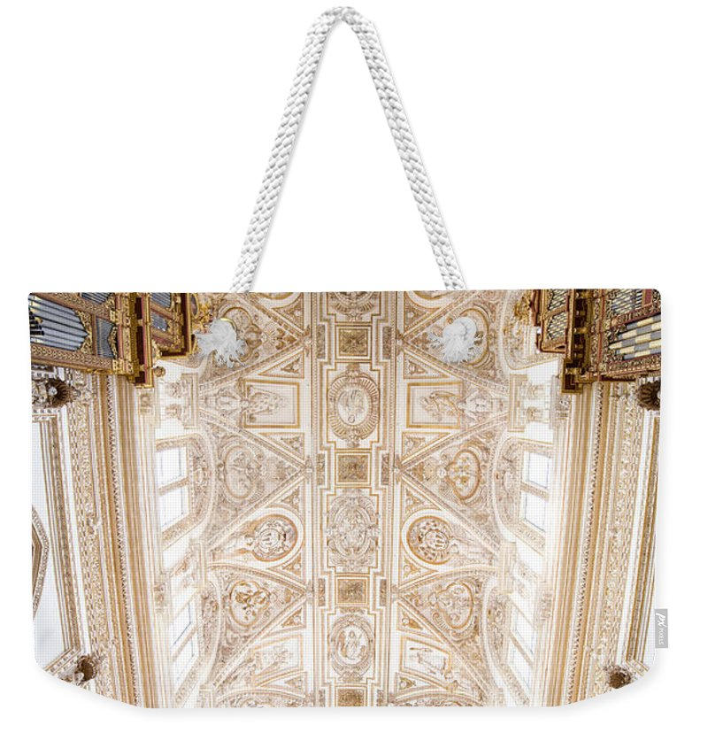 Mezquita Weekender Tote Bag featuring the photograph Mezquita Cathedral Ceiling In Cordoba by Artur Bogacki