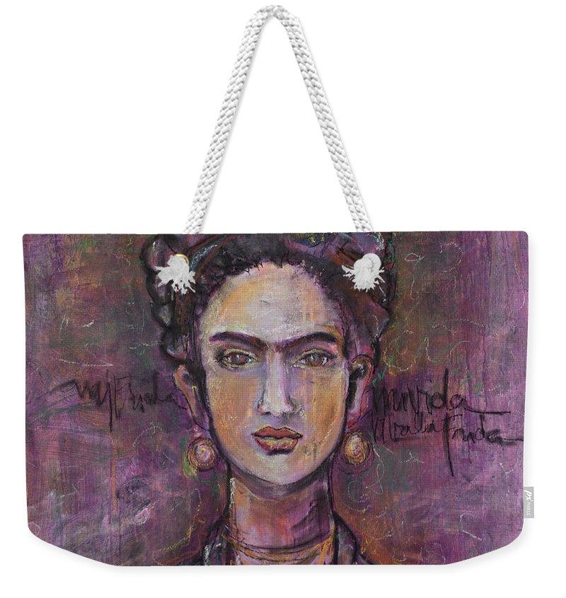 Frida Kahlo Weekender Tote Bag featuring the painting Mi Vida Mi Frida by Laurie Maves ART