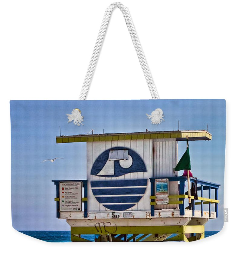 Lifeguard Weekender Tote Bag featuring the photograph Miami Beach Lifeguard Station by Les Palenik