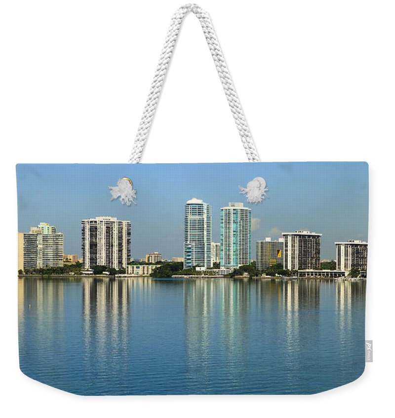 Architecture Weekender Tote Bag featuring the photograph Miami Brickell Skyline by Raul Rodriguez