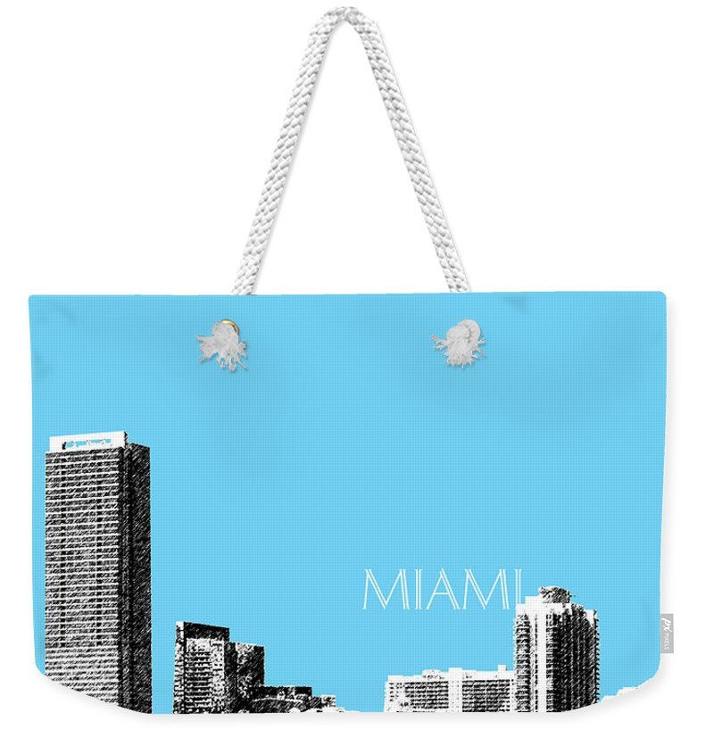 Architecture Weekender Tote Bag featuring the digital art Miami Skyline - Sky Blue by DB Artist