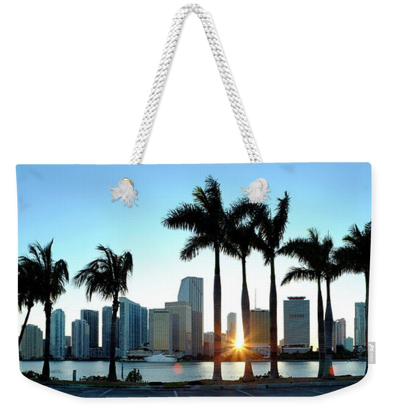Downtown District Weekender Tote Bag featuring the photograph Miami Skyline Viewed Over Marina by Travelpix Ltd