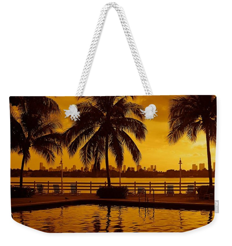 Miami South Beach Print Weekender Tote Bag featuring the photograph Miami South Beach Romance by Monique's Fine Art
