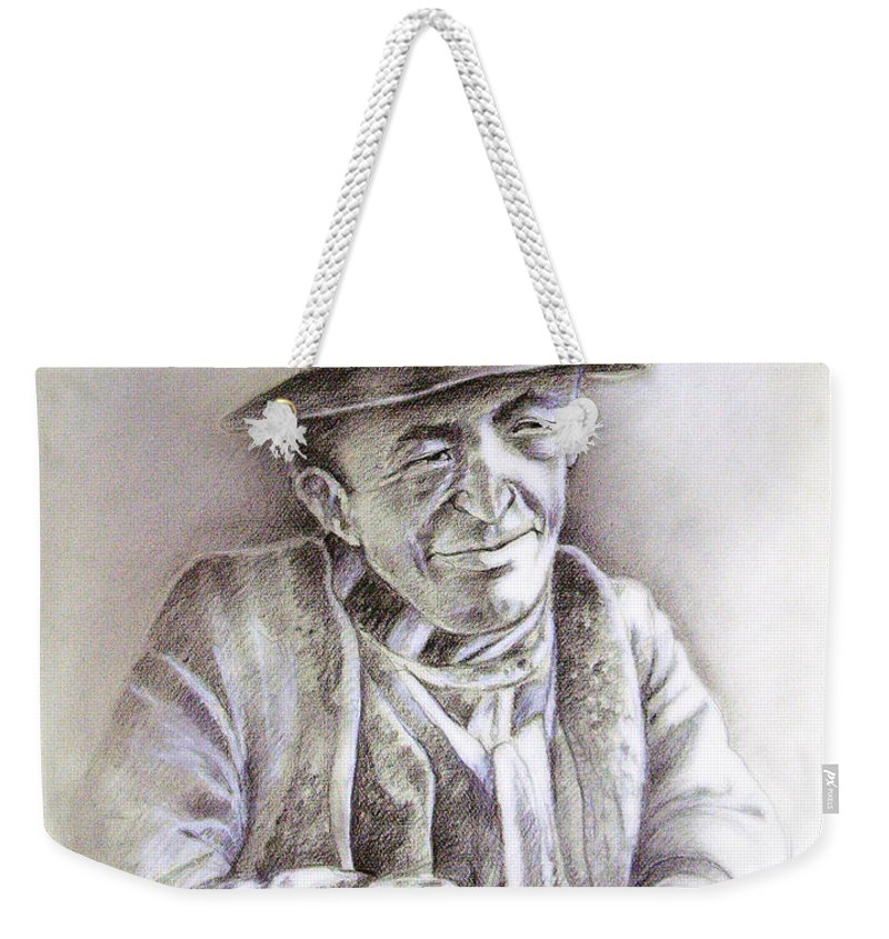 Portrait Michael Anderson Weekender Tote Bag featuring the painting Michael J Anderson by Miki De Goodaboom