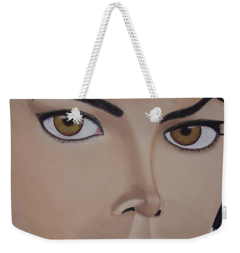 King Of Pop Weekender Tote Bag featuring the painting Michael Jackson by Dean Stephens