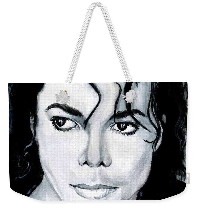 Michael Jackson Weekender Tote Bag featuring the painting Michael Jackson Portrait by Alban Dizdari