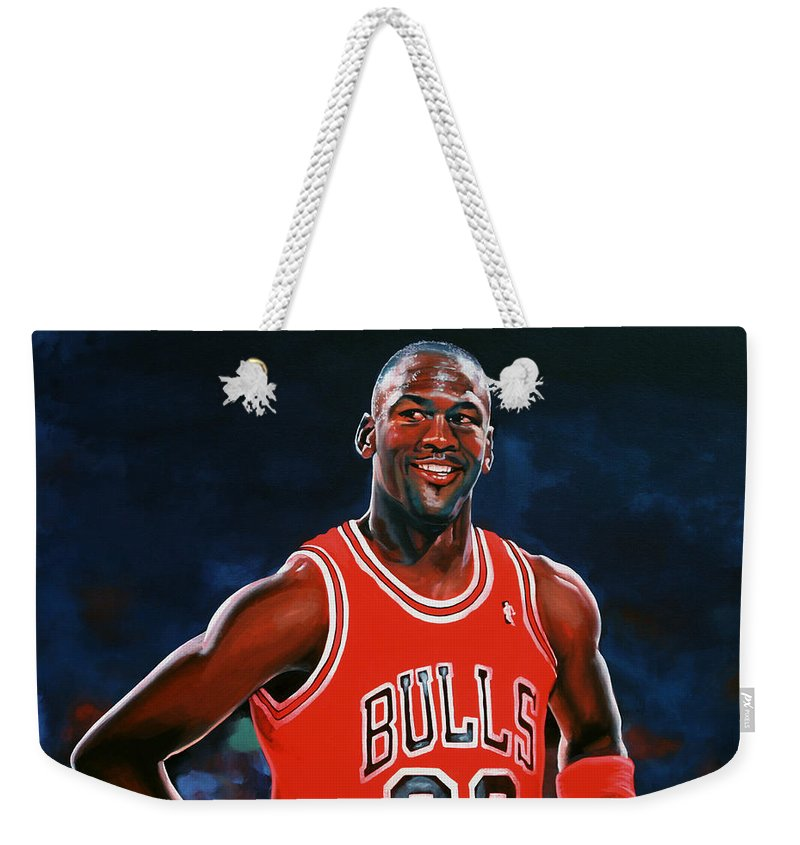 Michael Jordan Weekender Tote Bag featuring the painting Michael Jordan by Paul Meijering