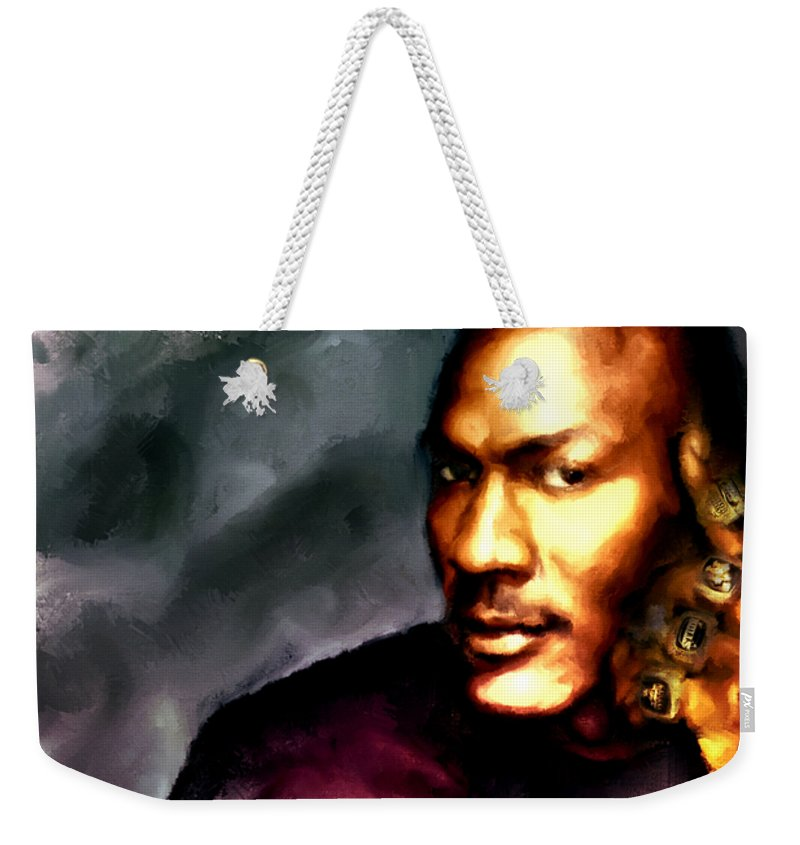 d159b7ac1fa018 Michael Jordan Weekender Tote Bag featuring the painting Michael Jordan Six  Rings by Brian Reaves