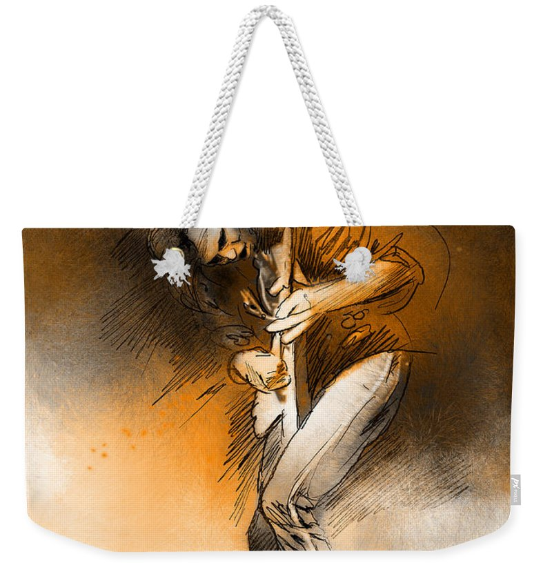 Music Weekender Tote Bag featuring the painting Michael Schenker by Miki De Goodaboom
