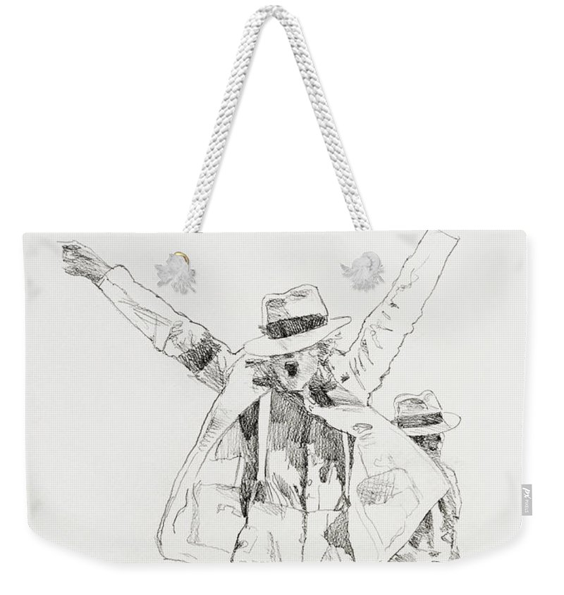 Michael Jackson Weekender Tote Bag featuring the drawing Michael Smooth Criminal by David Lloyd Glover