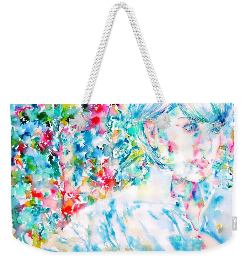 Woman Weekender Tote Bag featuring the painting Michela In The Garden by Fabrizio Cassetta