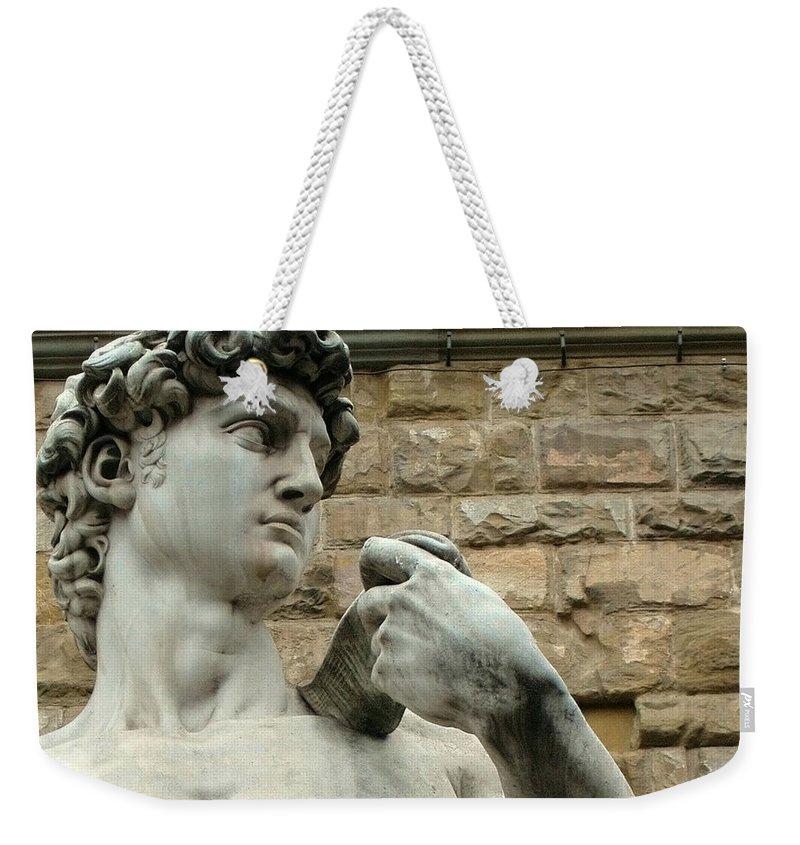 Michelangelos David Weekender Tote Bag featuring the photograph Michelangelo's David 1 by Ellen Henneke